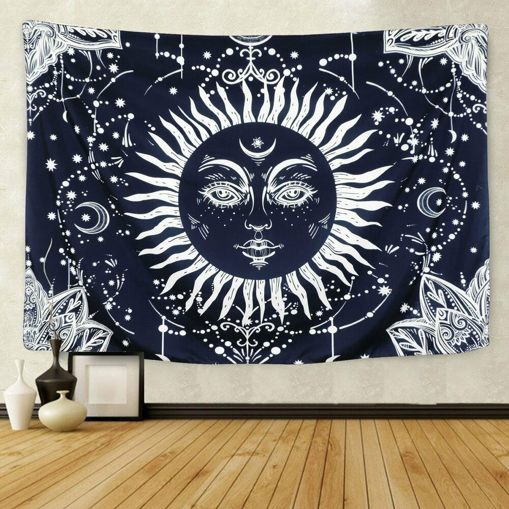 Psychedelic Tapestry Wall Hanging Moon and Sun Tapestries Hippie Mandala Decor