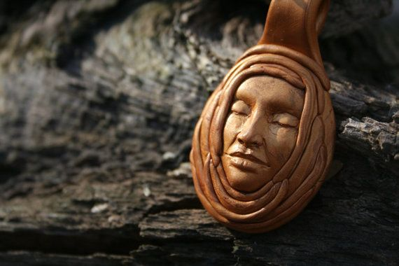 OOAK Polymer Clay Pendant-  Gold Face Pendant with wrapped headdress