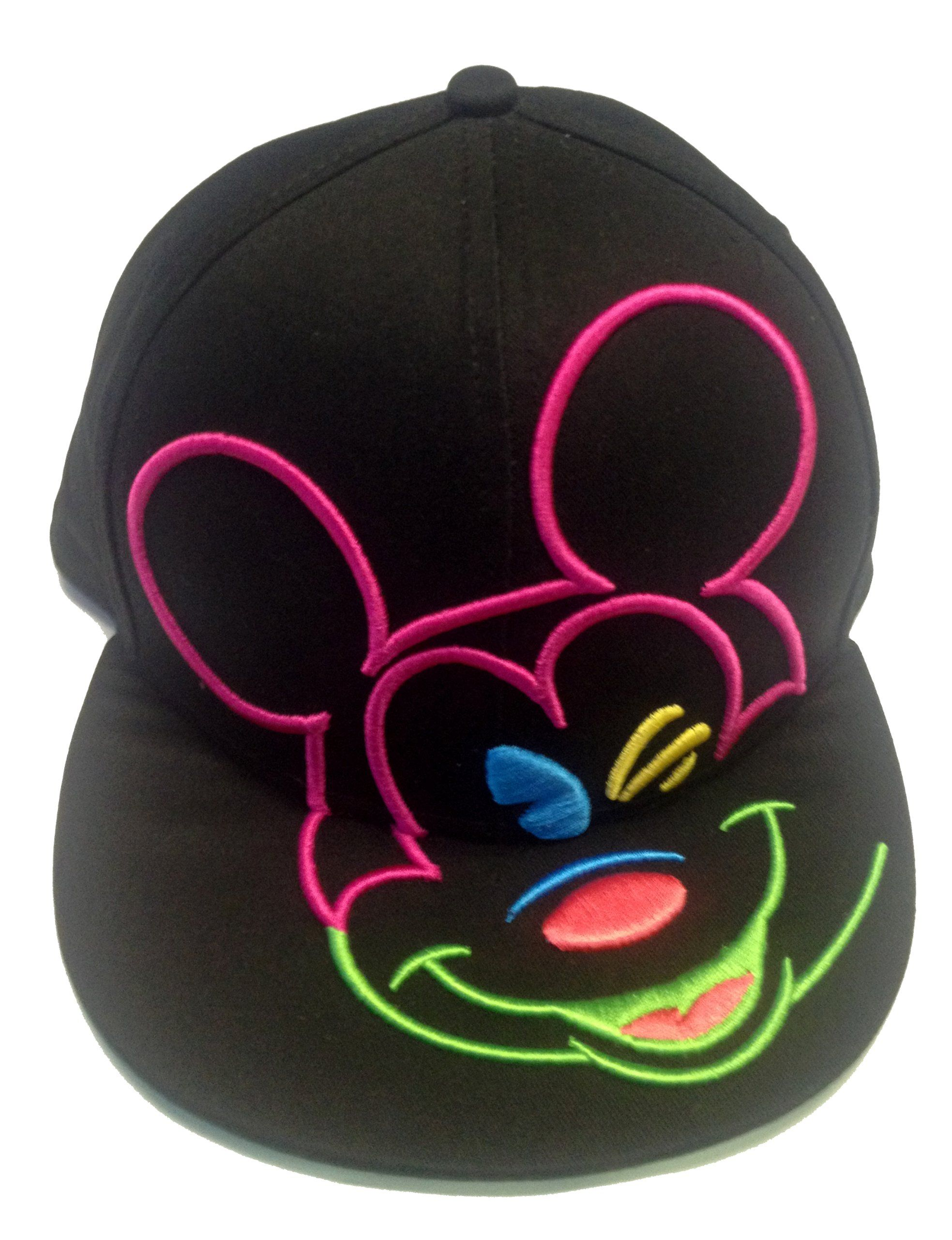 849c30b9496 Disney Mickey Mouse Black Neon Colors Outlined Snapback Hat Cap Flat Bill