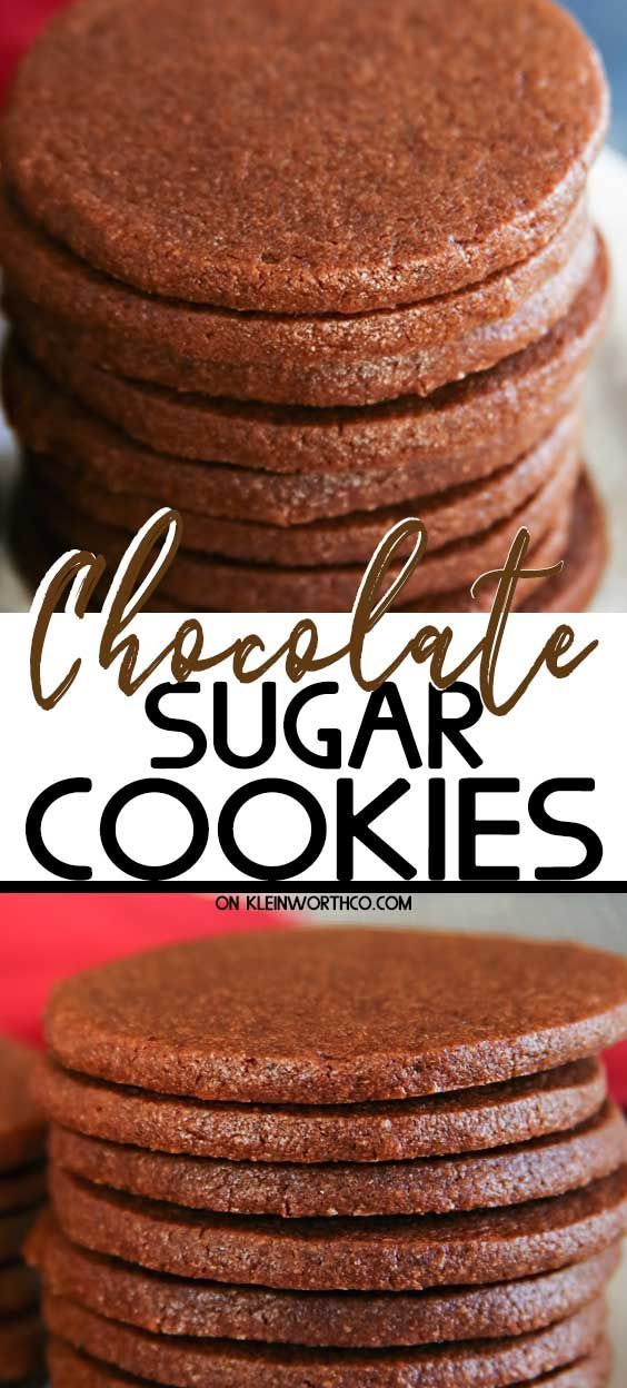 Easy Chocolate Sugar Cookies are super soft & chewy. Delicious when frosted for the holidays but so good you can enjoy them without any decorating too. #holidayrecipes #sugarcookies #cookierecipes #holidaycookierecipes #sugarcookierecipes #bestholidayrecipes #holiday #holidaytreat #easyrecipe #fallrecipe #easysugarcookies #chocolatesugarcookies #chocolate #thanksgiving #christmas #dessert