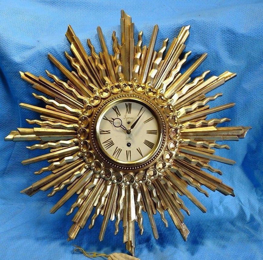 Vintage Syroco Starburst Sun Clock Wood Gold 8 Day With Key