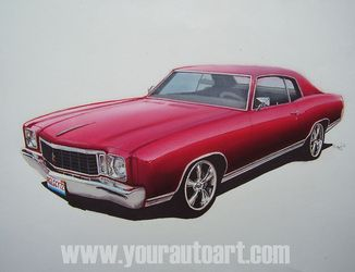 1972 Chevy Monte Carlo Car Art Drawing Using Chalks Colored