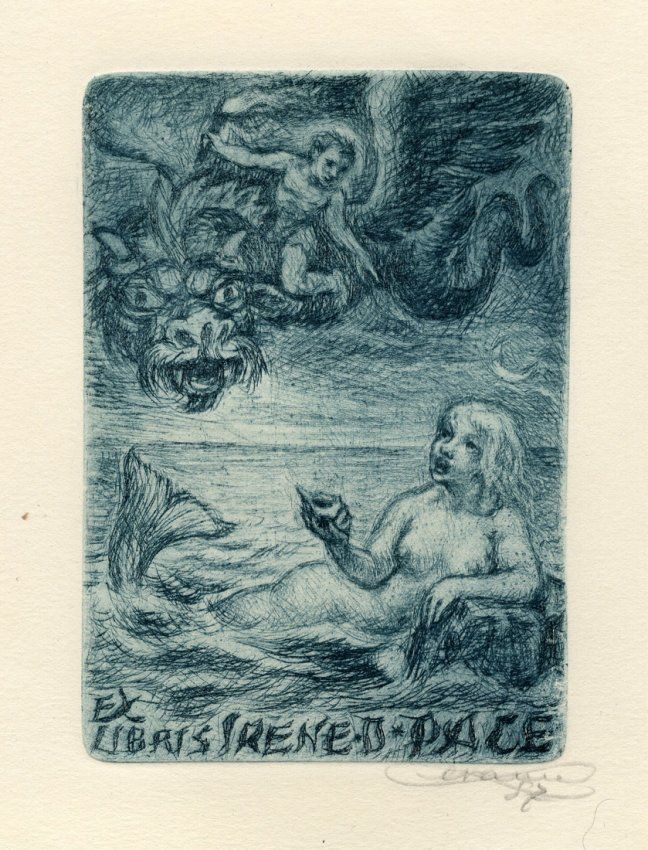 Bookplate by Enrico Vannuccini for Irene Dwen Pace, 1947 : Lot 672