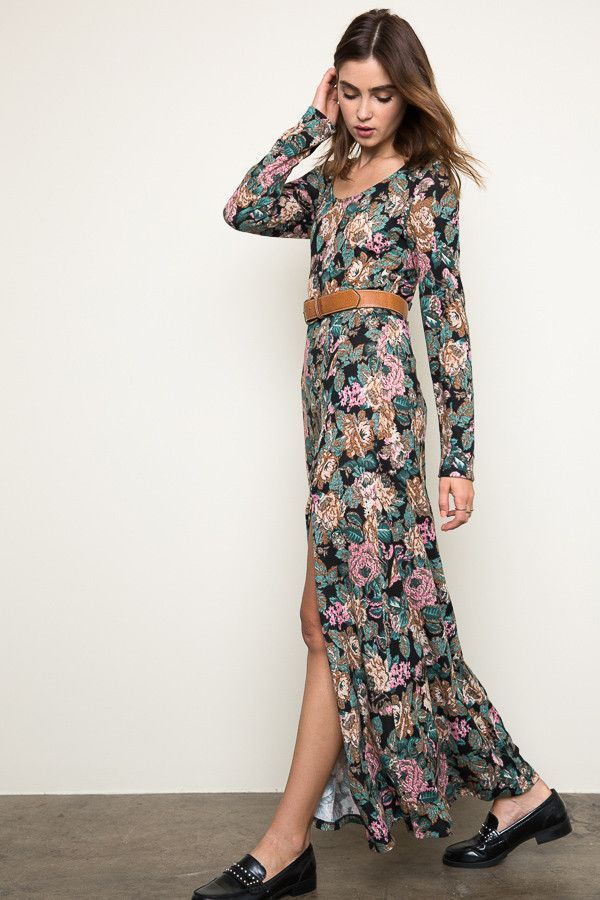 5856c38a252 Floral Knit Maxi Dress - Tan Mix