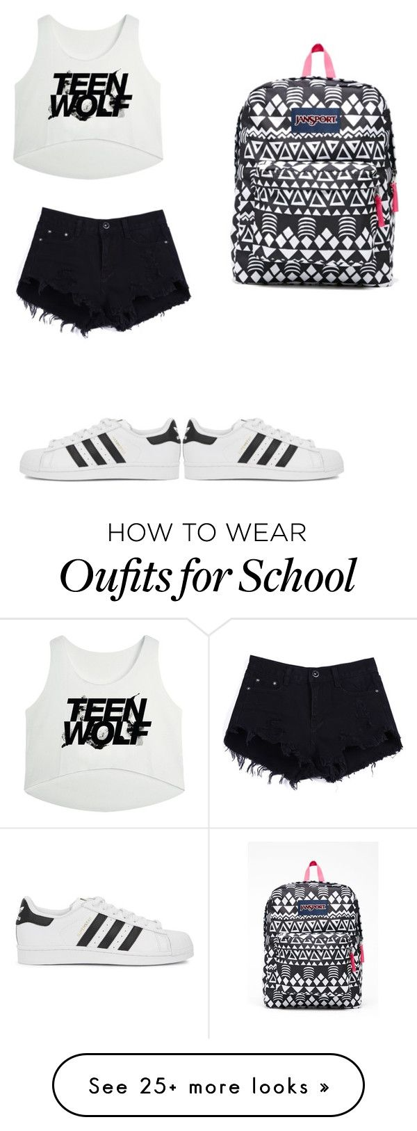 """Untitled #296"" by anna-diva-clara on Polyvore featuring JanSport, adidas Originals, women's clothing, women, female, woman, misses and juniors"