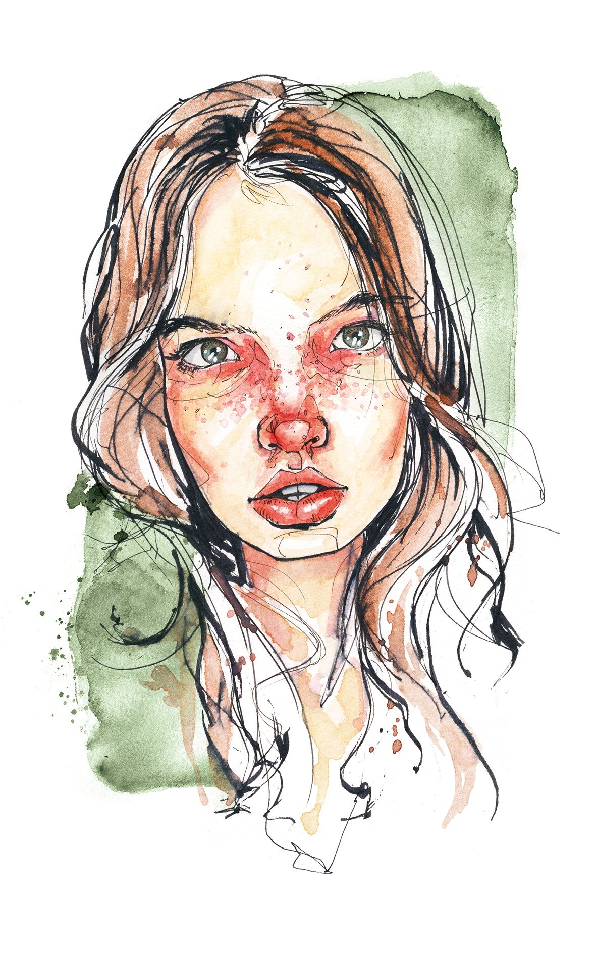 Face Illustration Aquarell Gesicht Wasserfarben Portraits