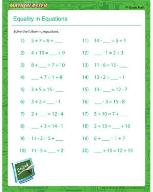 Equality in Equations - Free Printable Math Worksheet for ...