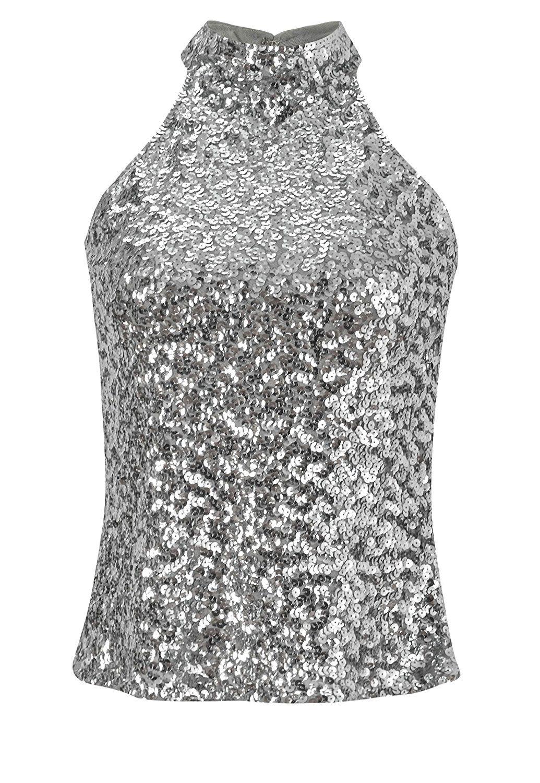 68ef475fe11 Howriis Women s Silver Sequins Halterneck Summer Short Vest Tank Tops (One  Size