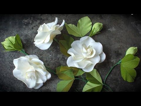 How To Make A Crepe Paper Gardenia With Double Sided Crepe Youtube Paper Flower Video Paper Flowers Paper Flowers Craft