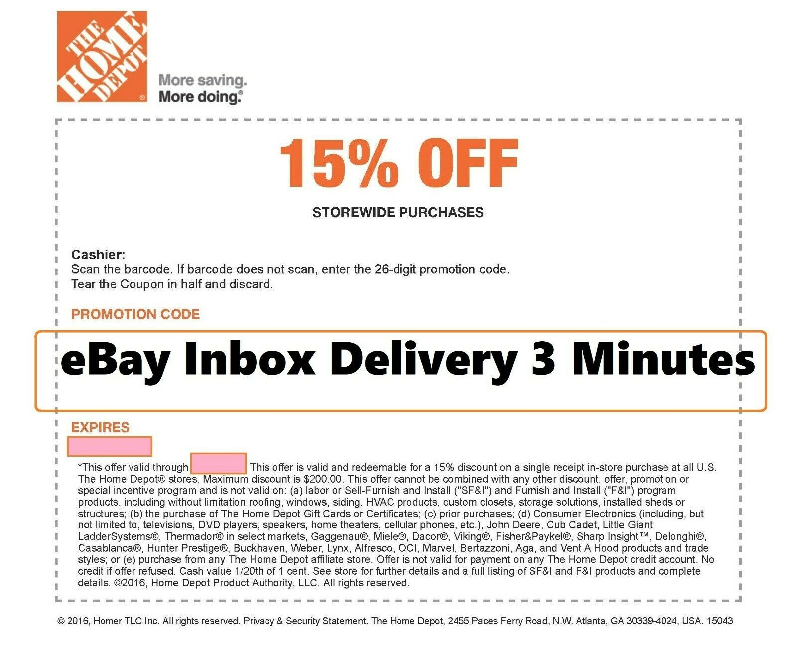 One 1x Home Depot 15 Off Coupon Save Up To 200 Instore Only Super Fast Home Depot Home Depot Coupons Home Trends First Home