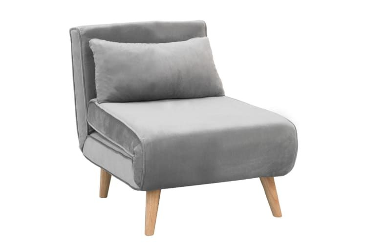 Adjustable Corner Sofa Bed Single Seater Lounge Faux Velvet Light Grey Sofas In 2020 Corner Sofa Bed Corner Sofa Sofa Bed