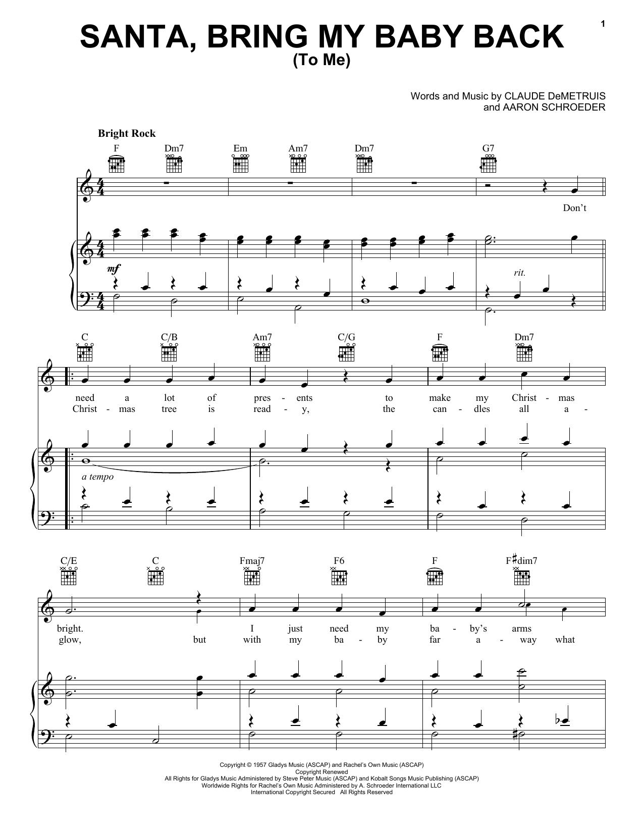 Elvis Presley 'Santa, Bring My Baby Back (To Me)' Sheet