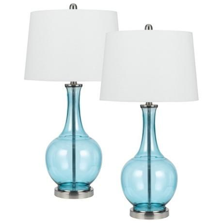 Set Of 2 Colored Glass Sky Blue Table Lamps   #2C330 | LampsPlus.com