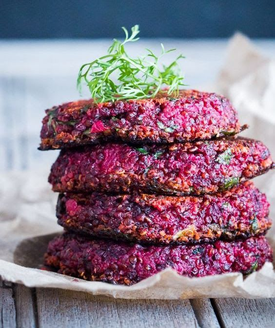 -- BEET & GOATS CHEESE QUINOA PATTIES -- { Click on image for Recipe! } Recipe credit: http://www.myfoodstory.com/beet-and-goat-cheese-quinoa-patties