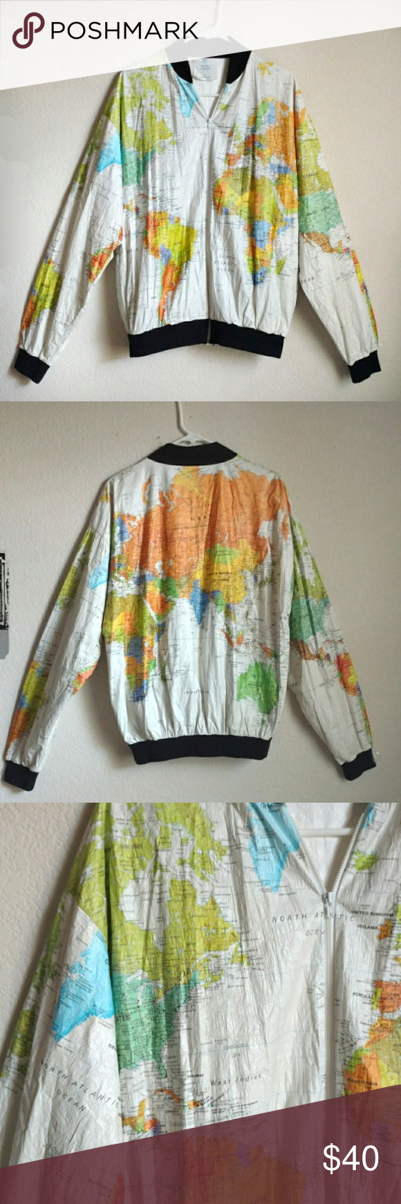World map jacket tyvek size xl 1980s windbreaker wearin the world world map jacket tyvek size xl 1980s windbreaker wearin the world with original tags from the back part of the basement black knit 1980s and hand gumiabroncs Choice Image