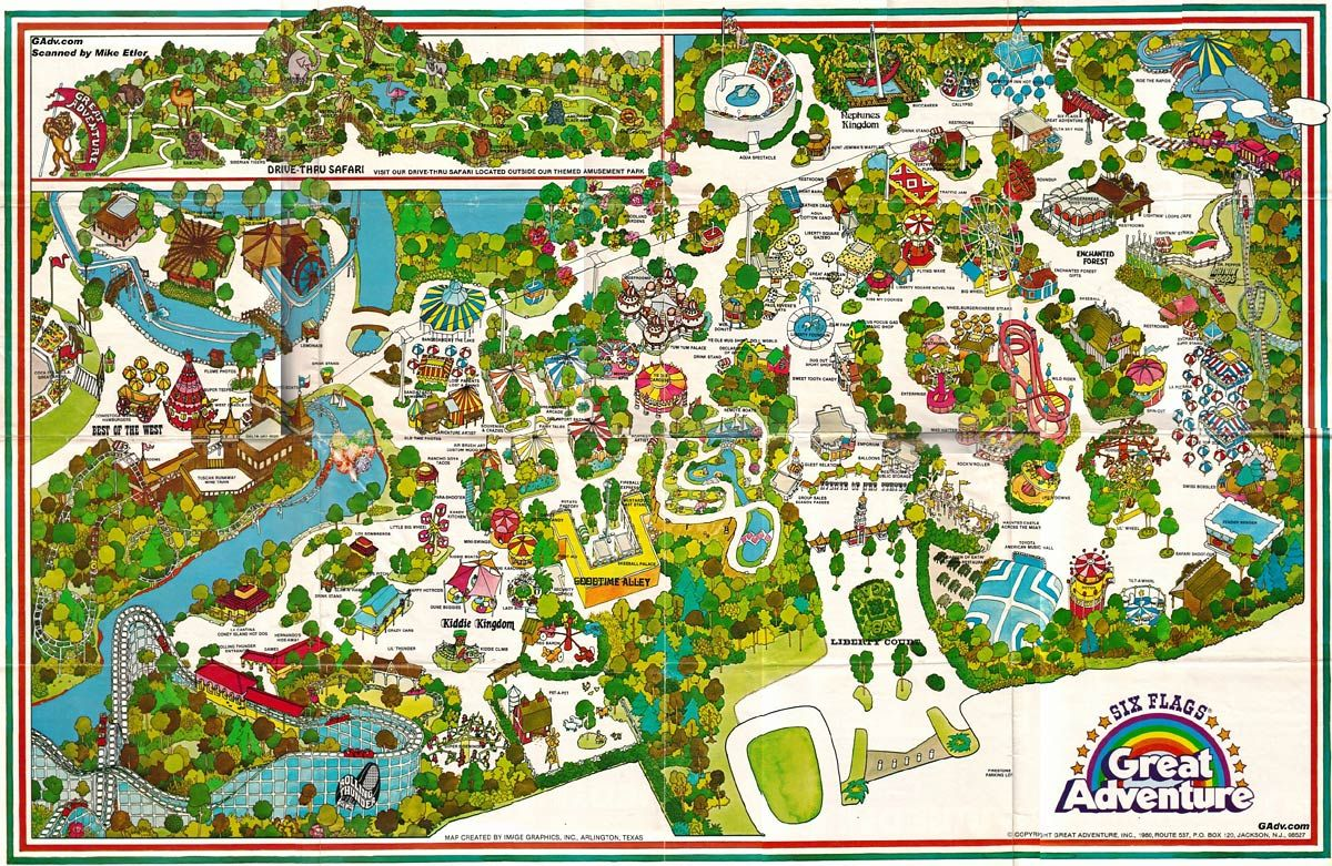 Six Flags Great Adventure Map 1974