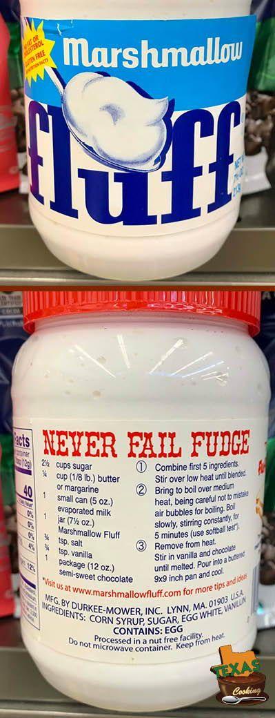 Never Fail Fudge recipe from Marshmallow Fluff