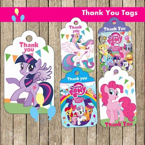 My Little Pony Thank You Tags Digital File Party Supplies Little Pony Birthday Party My Little Pony Birthday Little Pony Party
