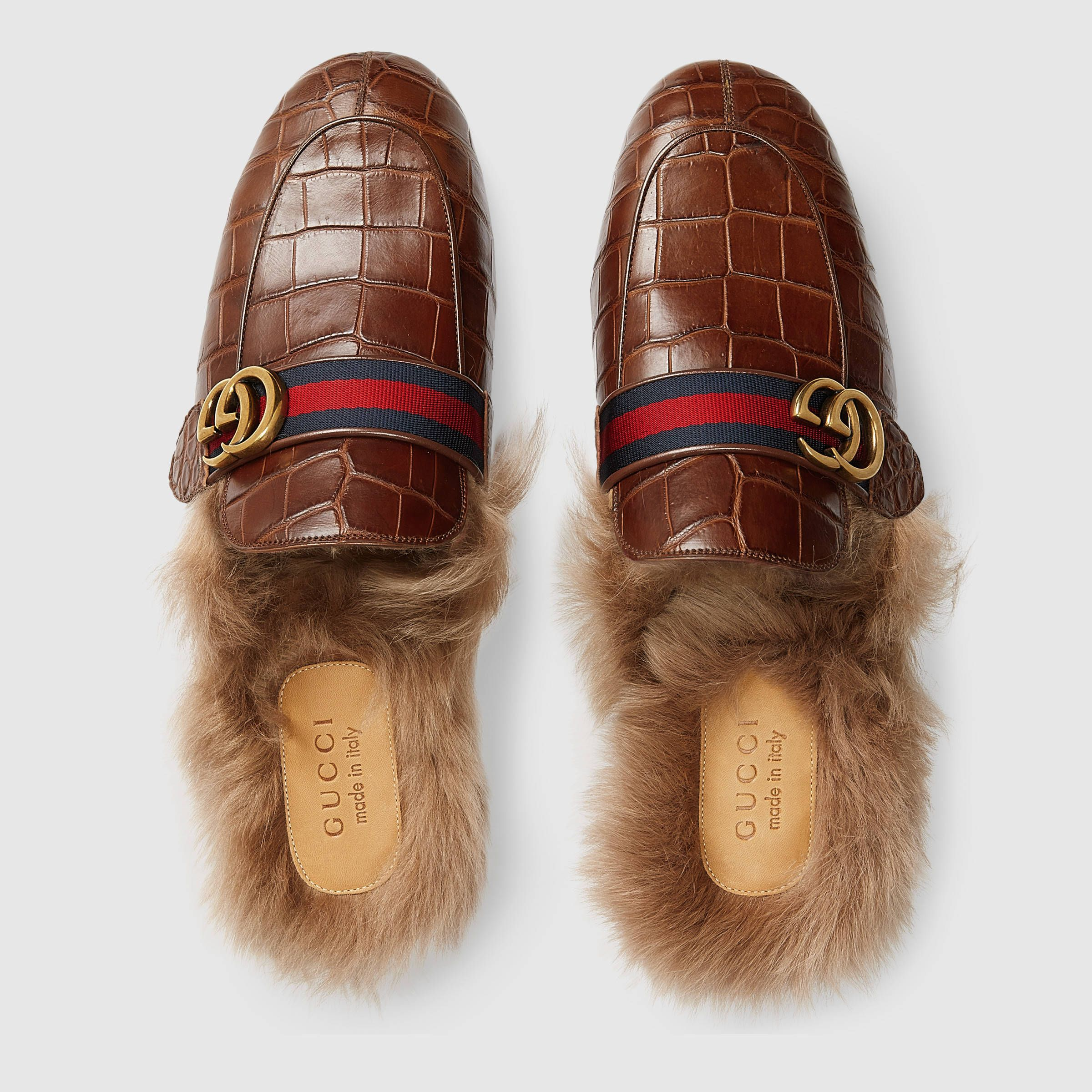 a27b2a23126 Gucci Princetown crocodile slipper with Double G Detail 3 Mens Fur Slippers
