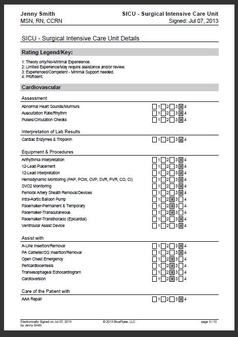 Sample Nursing Skills Checklist Bluepipes Blog Icu Nursing Nursing Resume Nurse Staffing
