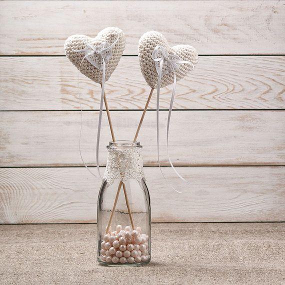 Wedding Ring Pillows Bearers Set of 2 Crochet Ivory Heart Bearers ...