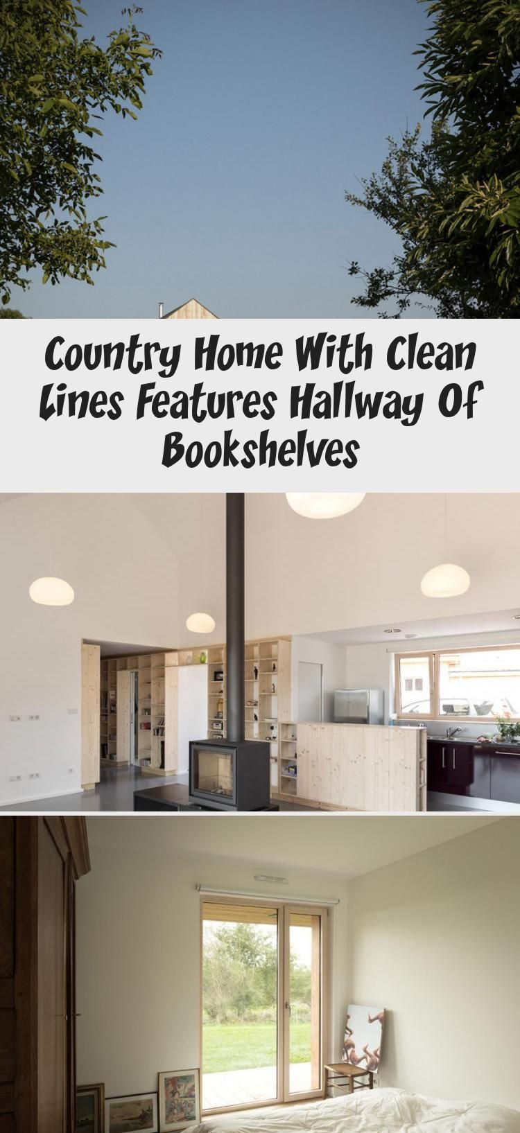 Country Home With Clean Lines Features Hallway Of Bookshelves #hallwaybookshelves Country Home with Clean Lines features Hallway of Bookshelves #countryhomeOutdoor #countryhomeHallway #countryhomeAustralian #countryhomeFacade #countryhomeLandscaping #hallwaybookshelves
