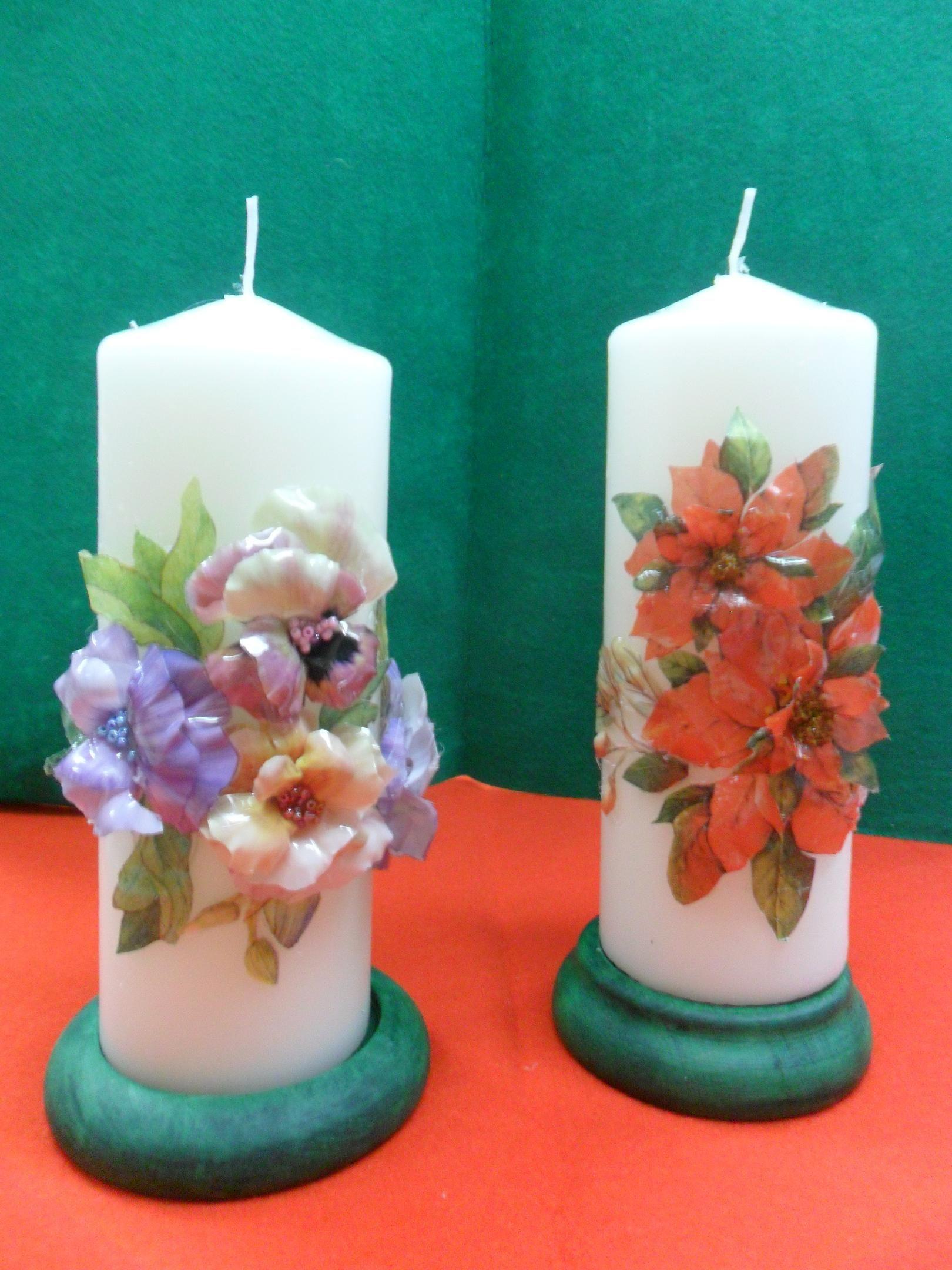 Velas de navidad decoradas con sospeso floral varios pinterest decoupage decorated - Velas decoradas para navidad ...