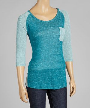 Another great find on #zulily! Michael Brandon Peacock Burnout Raglan Top by Michael Brandon #zulilyfinds