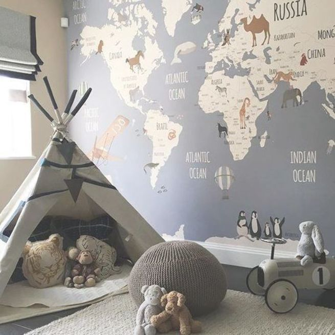 Map Mural With Animals In Adventure Themed Nursery With Teepee Nurseryideas Nurserydecor Babynursery Kids Room Wallpaper Playroom Decor Kids Playroom Decor