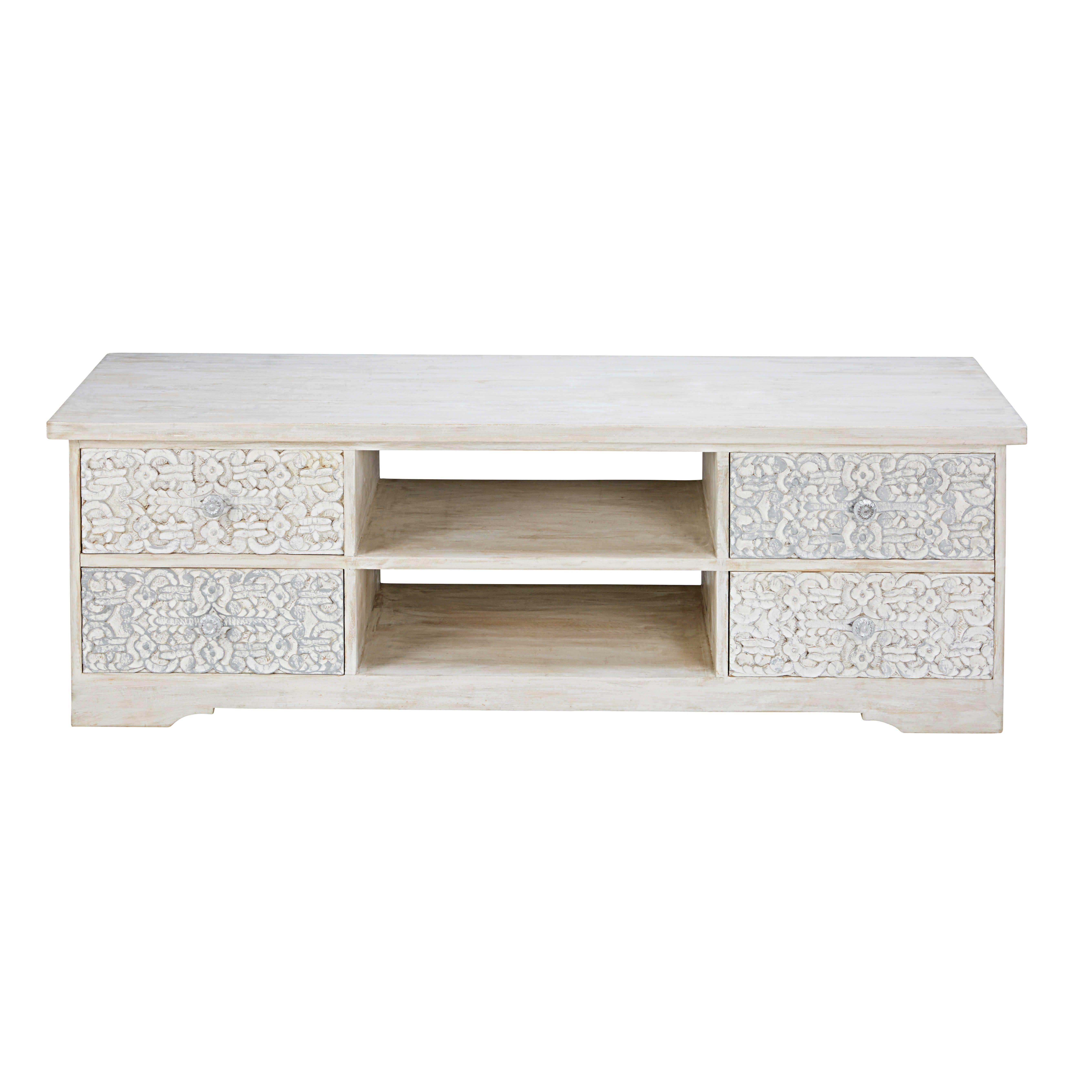 Mueble de TV de mango esculpido y blanqueado Namaste