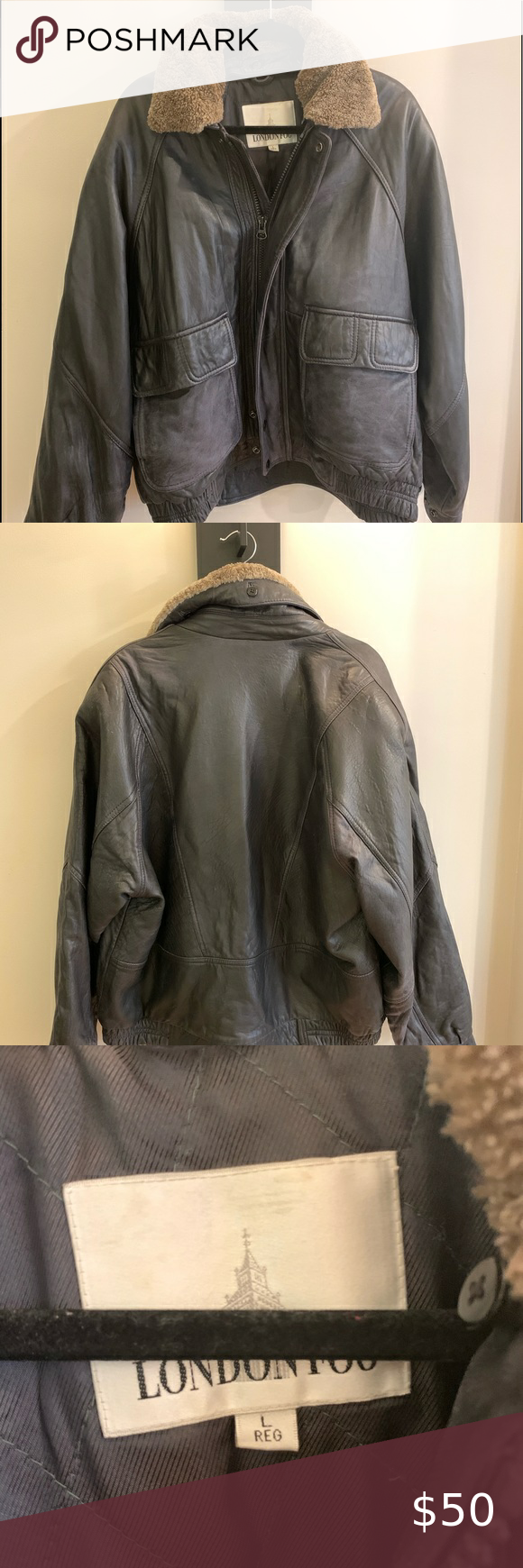 London Fog Leather Bomber In 2020 Leather Bomber Clothes Design London Fog
