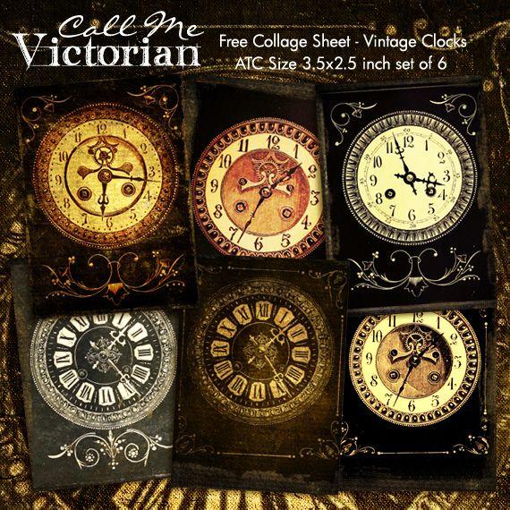 FREE vintage clock digital collage sheet | FREE PRINTABLES ...