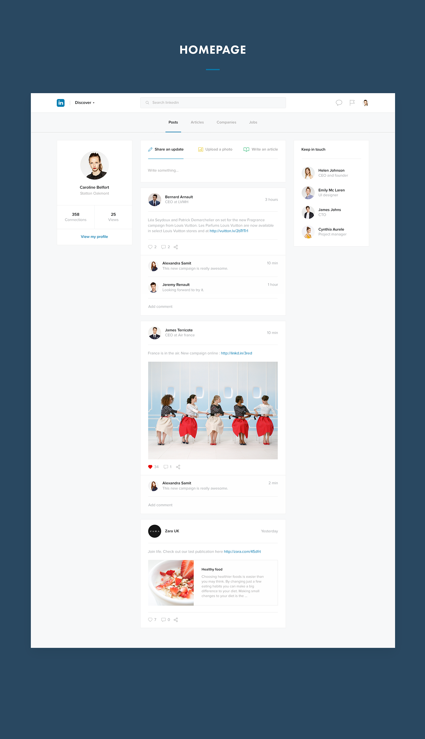 Linkedin Redesign Concepts – Muzli - Design Inspiration | Globus