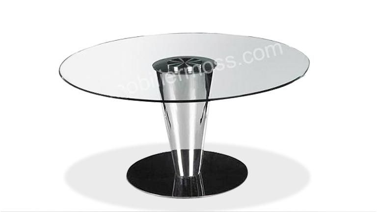 Table Ronde Verre Nola Pied Rond Evase Mobilier Moss Salle A