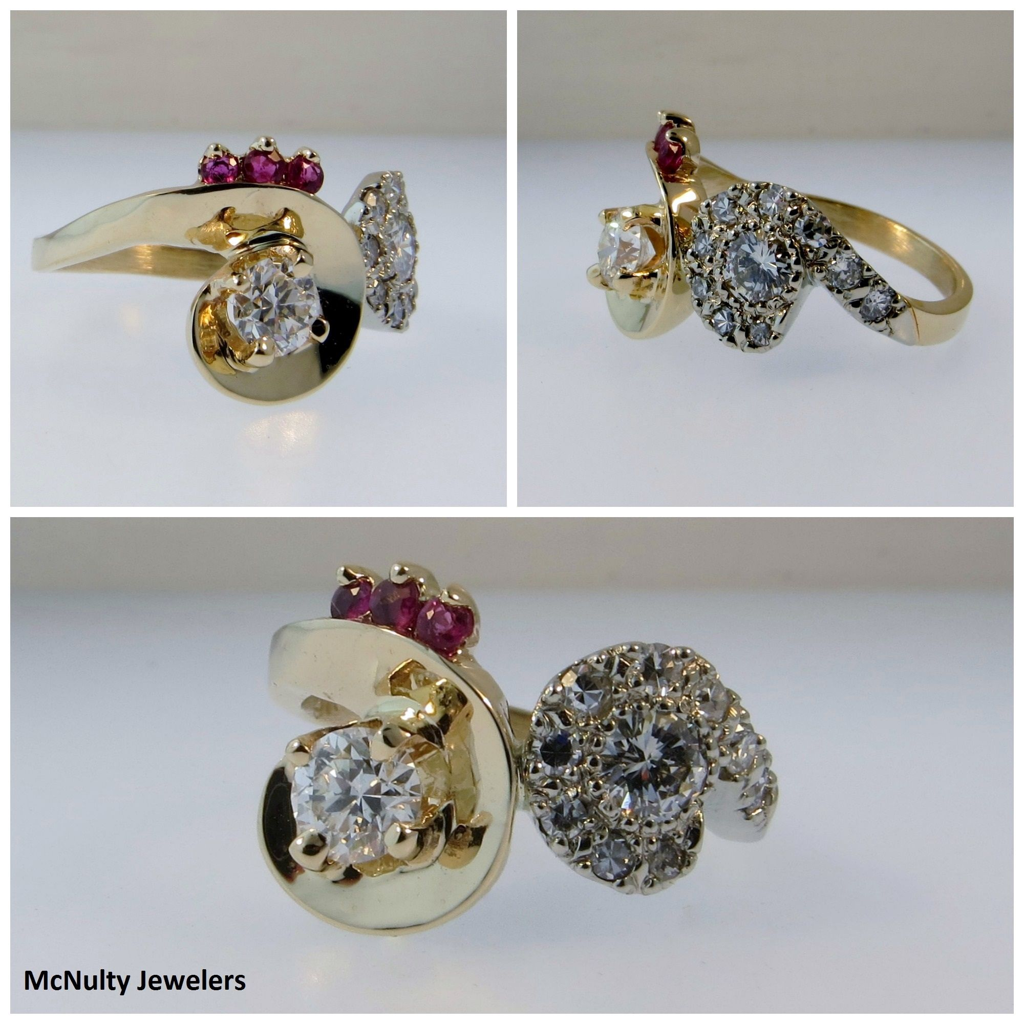 The wearer of this beautiful piece wanted a ring that would be easy to wear and would combine stones from her wedding ring and her mom's wedding ring. This ring reflects the original style of both rings with an updated, wearable look. McNulty Jewelers original design