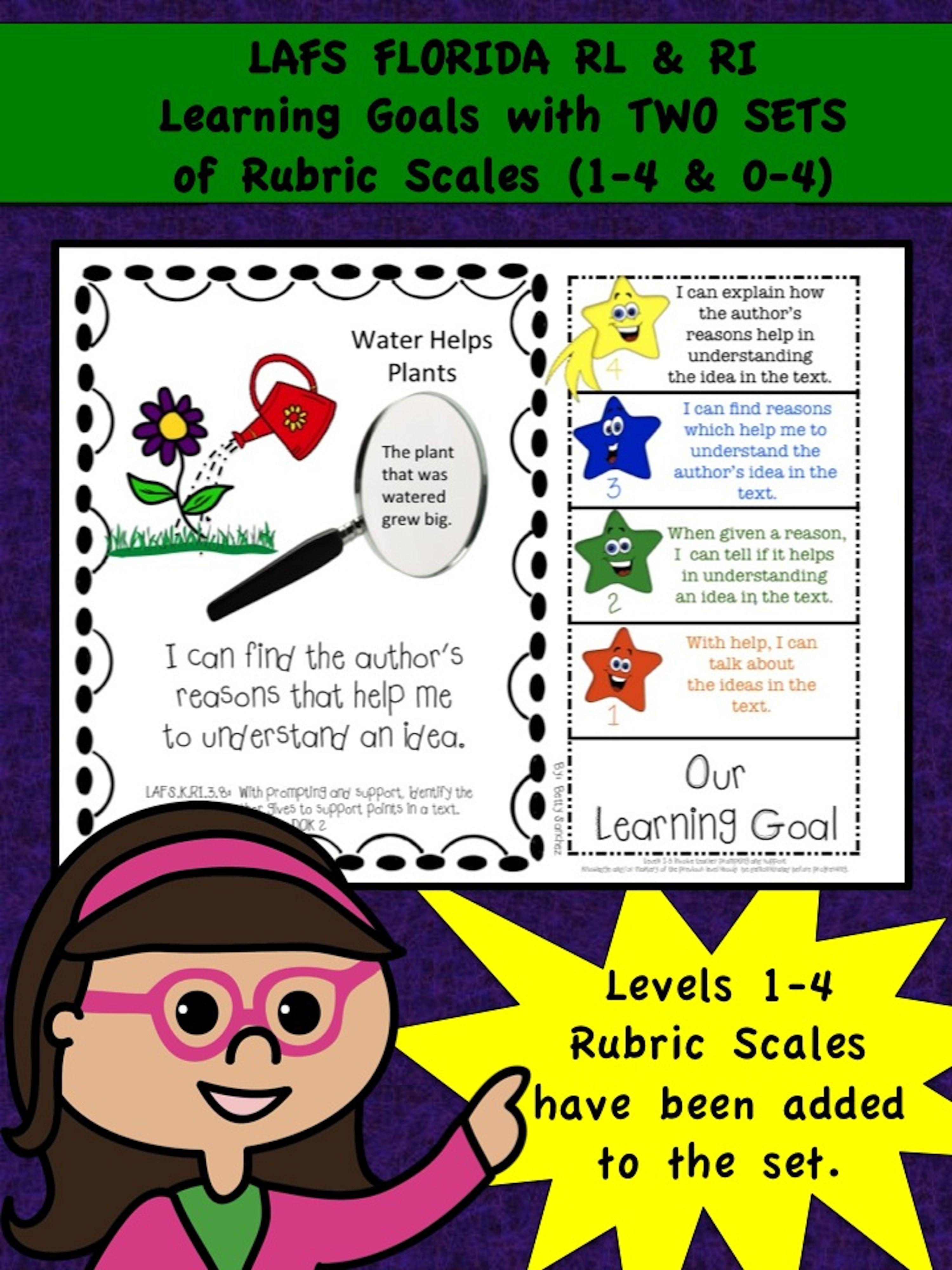 Lafs Fla Kindergarten Ri Rl Learning Goals With 2 Sets Of Rubrics Dok Levels Learning Goals Rubrics Kindergarten