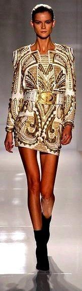 Balmain Spring 2012 | gold | long sleeve | epaulets | gold belt | high fashion