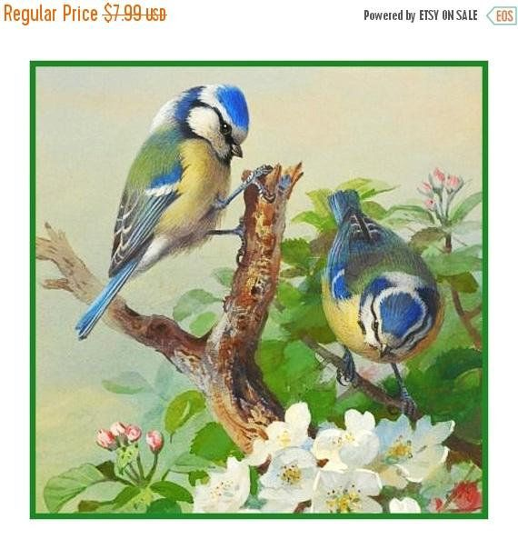Great Tit Bird on a Branch by Archibald Thorburn Counted Cross Stitch Pattern