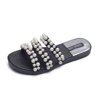 e831bcef1e0656 Women Summer Shiny Embellished Pearls Slippers PVC Thick Strap Flat Heel  Sandals