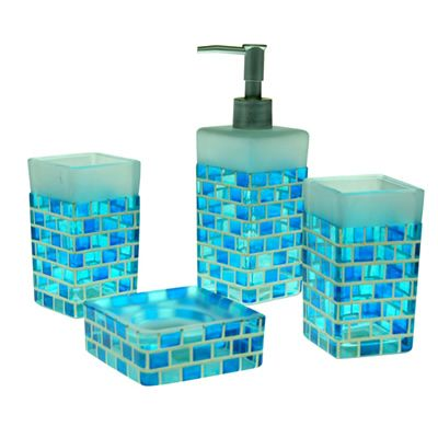 Sky Blue Mosaic Bath Accessories Beach Gl Bathroom
