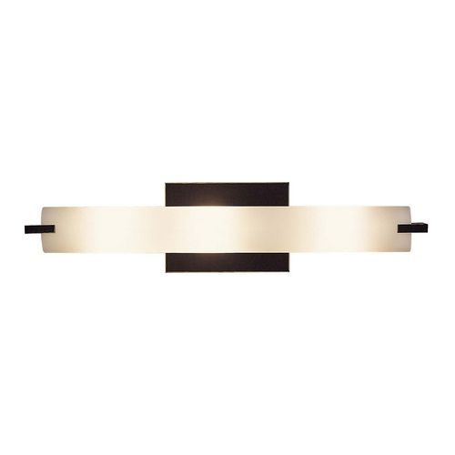 George Kovacs Lighting Modern Vertical Bathroom Light with White Glass in Dark Restoration Bronze Finish | P5044-37B | Destination Lighting