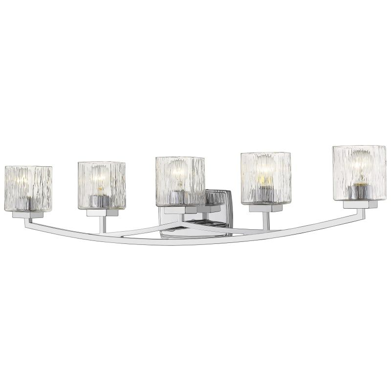 "Photo of Z-Lite 1929-5V Zaid 5 Light 40 ""wide basin lamp with clear chisel glass shades Chrome interior lighting Bathroom lamps Basin lamp"