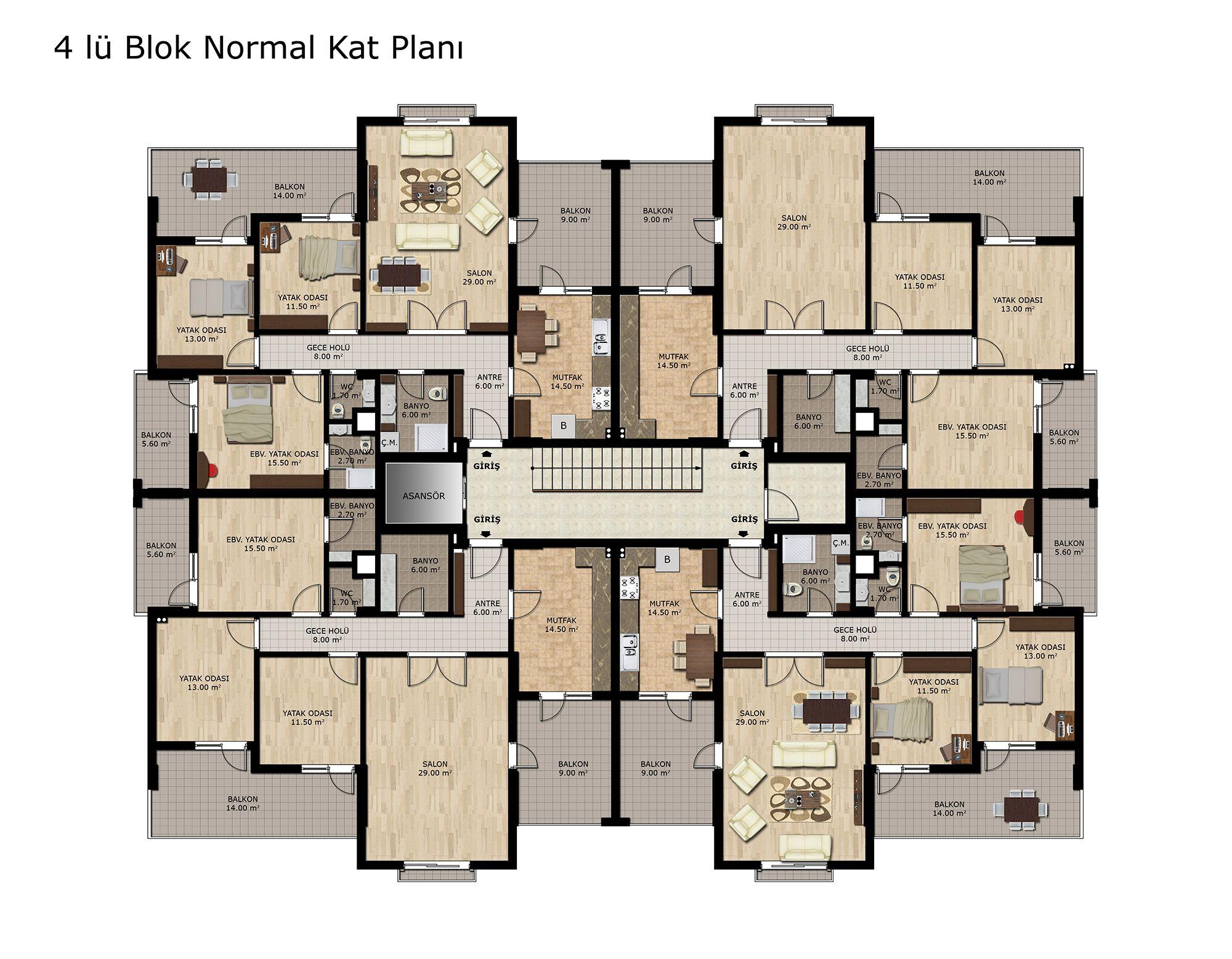 Katta 4 daire plan ile ilgili g rsel sonucu mimari for Apartment design 90m2