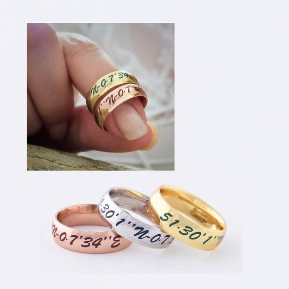 Wedding Engagement Custom Engraved Ring Personalized Coordinate