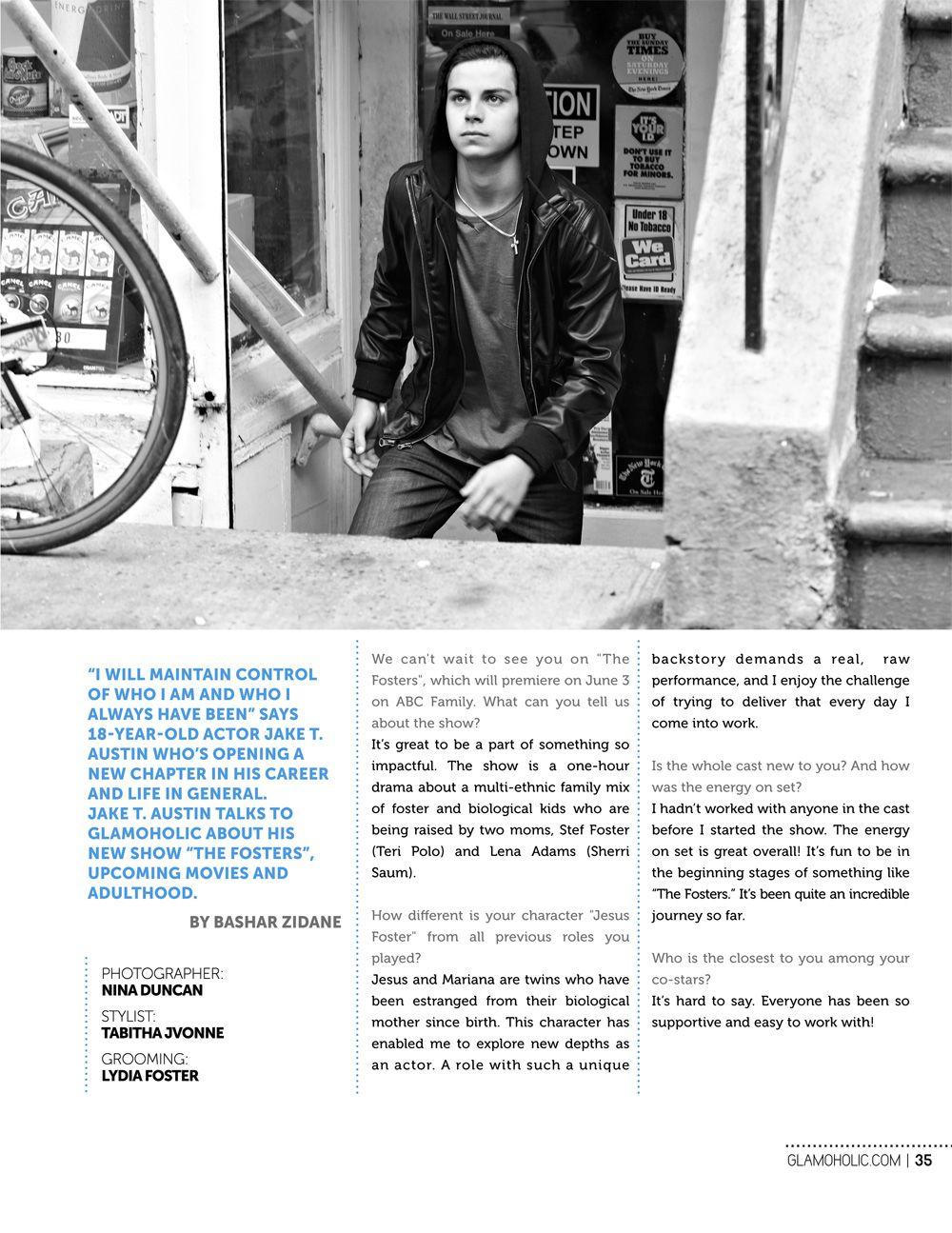 "Jake T. Austin no ensaio para a revista ""Glamoholic"""
