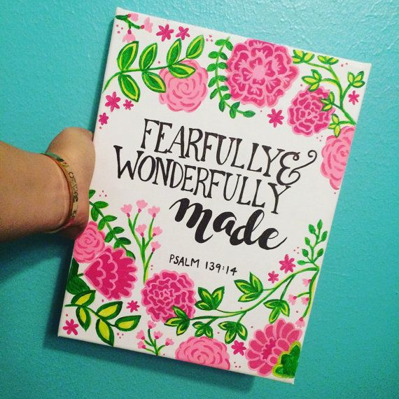 Fearfully Wonderfully Made Bible Verse Canvas By AmberleyDesigns