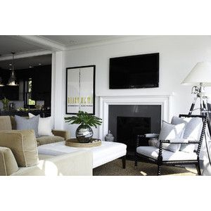 Rocky Ledge Living Room with Fireplace featuring polyvore home home decor grey home decor gray home decor