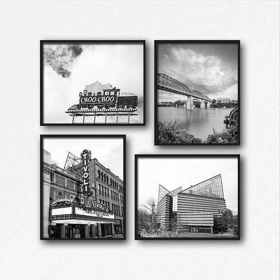 Chattanooga Photography Wall Art Black & White Set Tivoli Walnut St ...