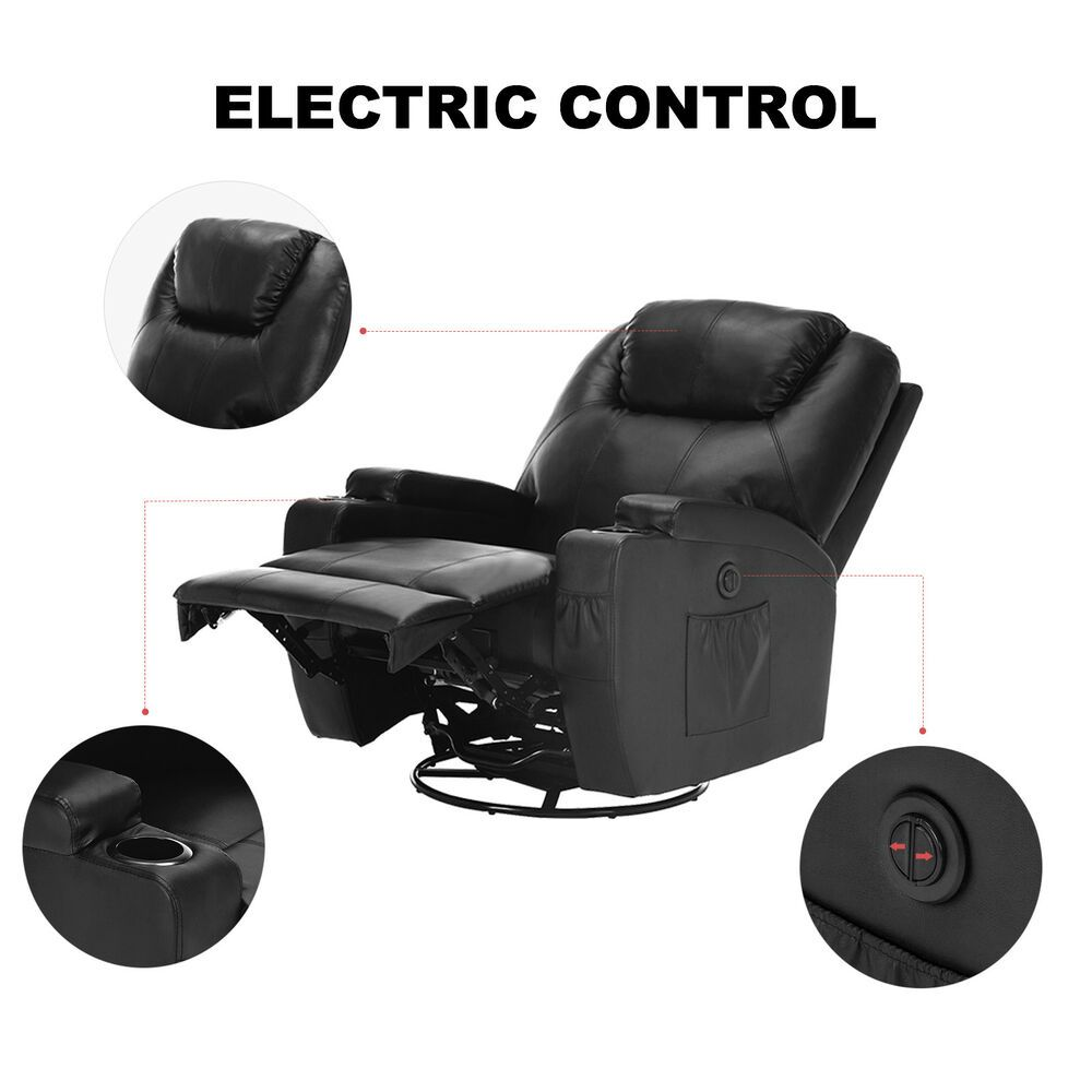Ebay Sponsored Electric Swivel Heated Massage Chair Leather Power Recliner Sofa Armchairs Black Console Furniture Tv Stand Unit Power Reclining Sofa