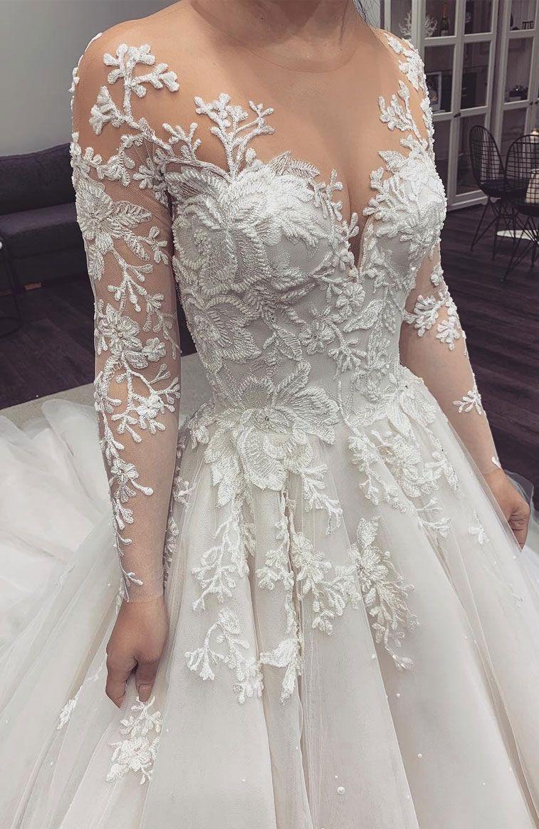 20 Elegant lace long sleeve wedding dresses ,long sleeve wedding ...